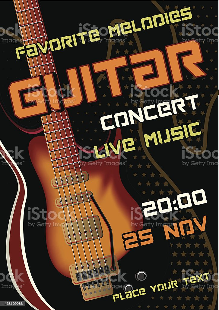 Rock concert design template with guitar, microphone royalty-free stock vector art