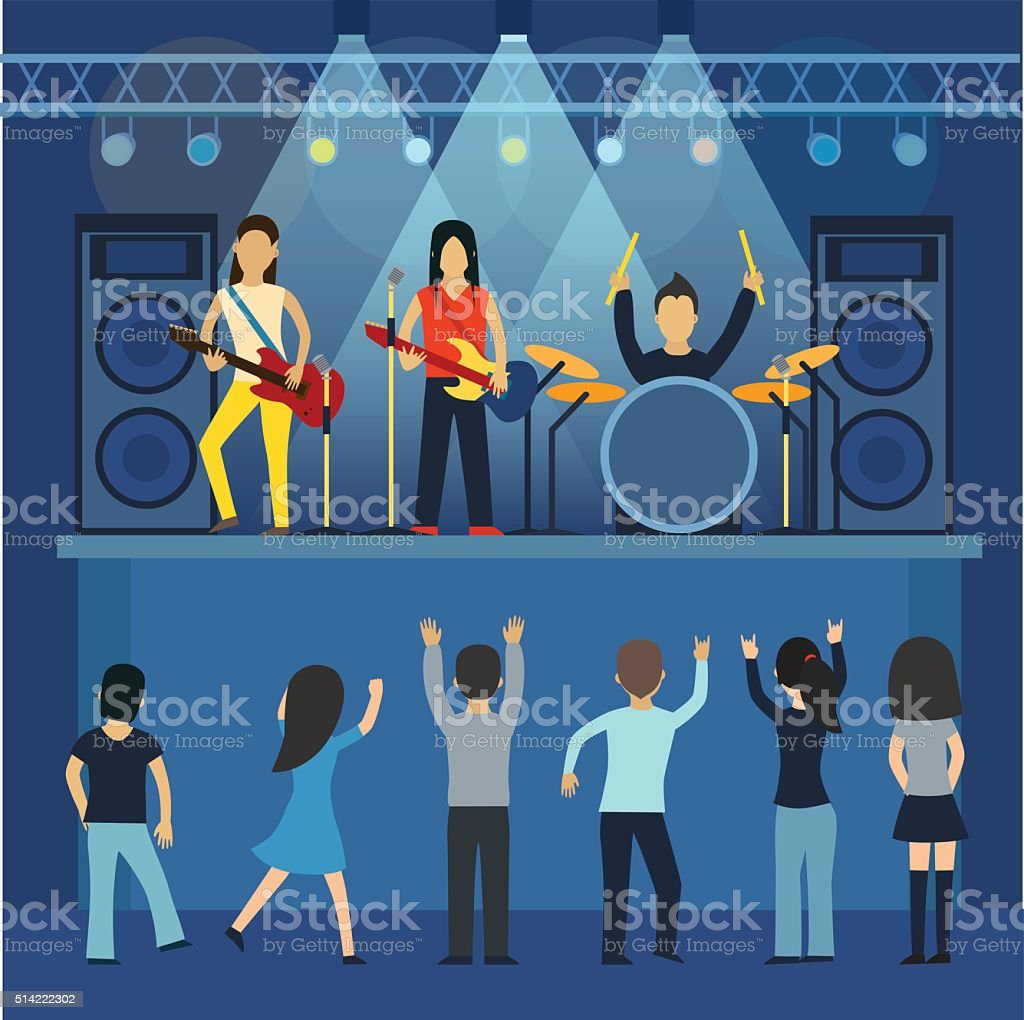 Rock concert  guitar and musician, musical instrument vector  illustration vector art illustration