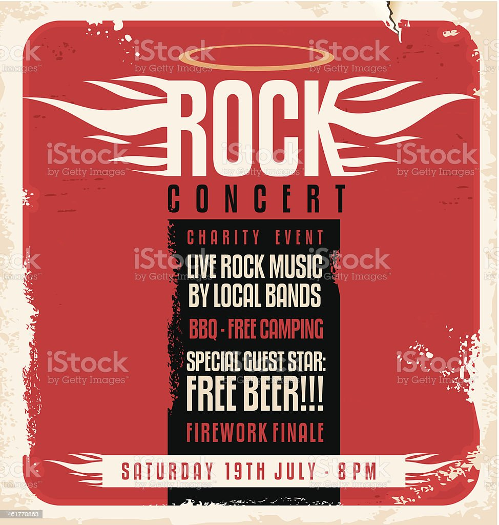 Rock concert retro poster design concept vector art illustration