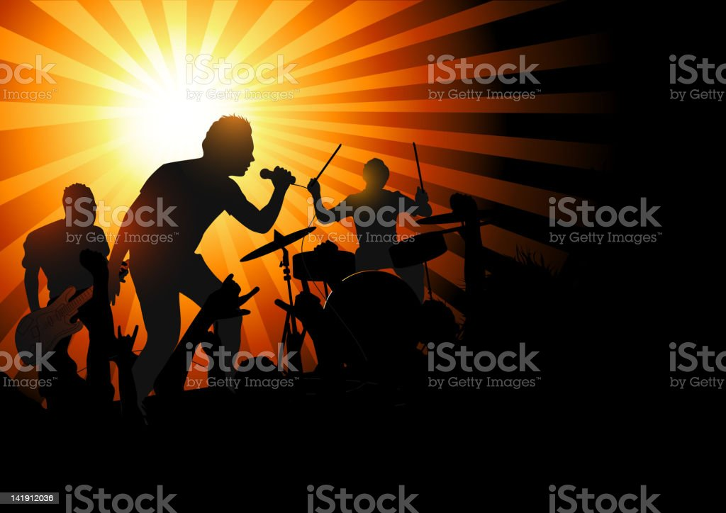 Rock concert shadows illustration vector art illustration