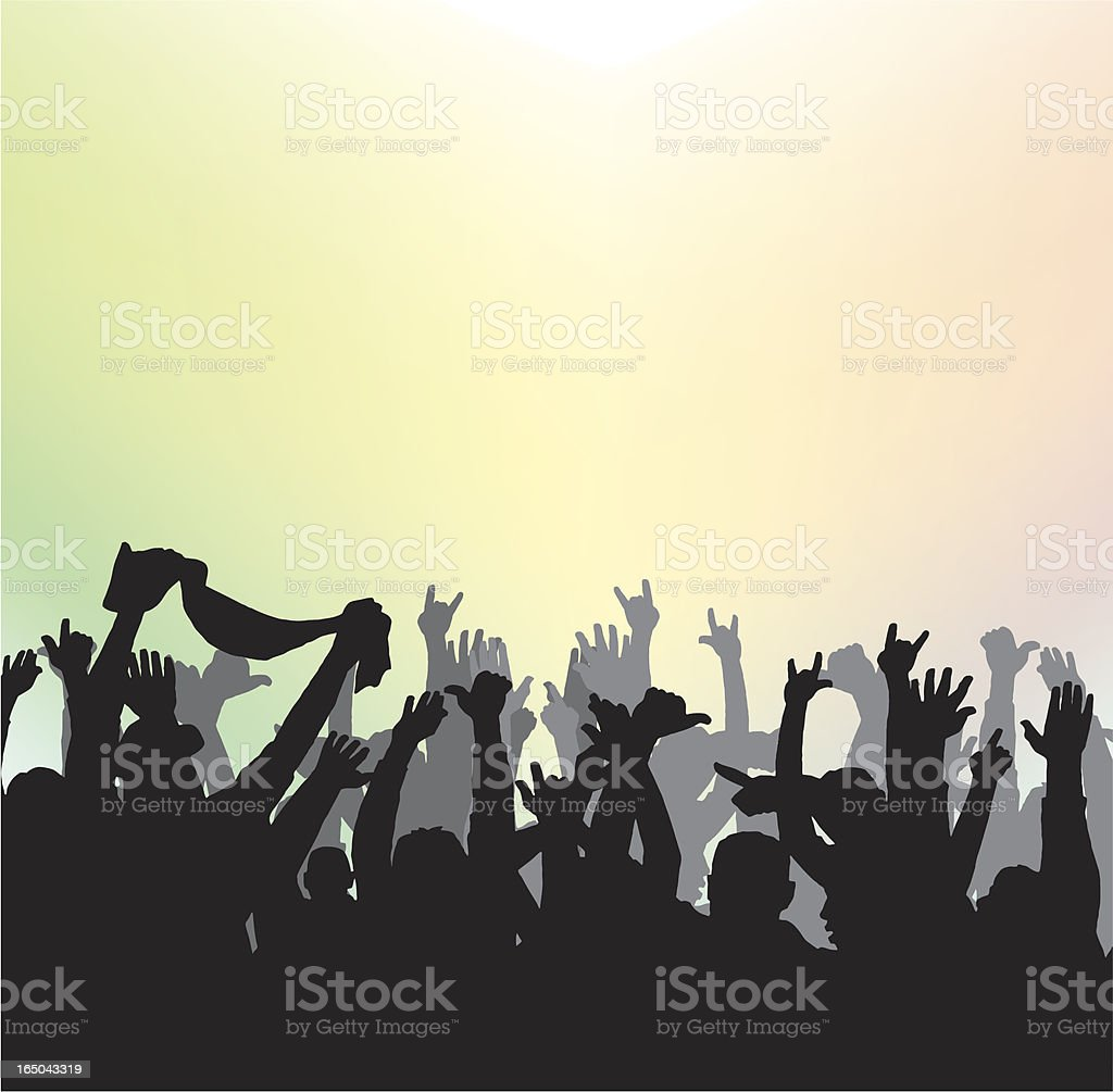 Rock Crowd vector art illustration