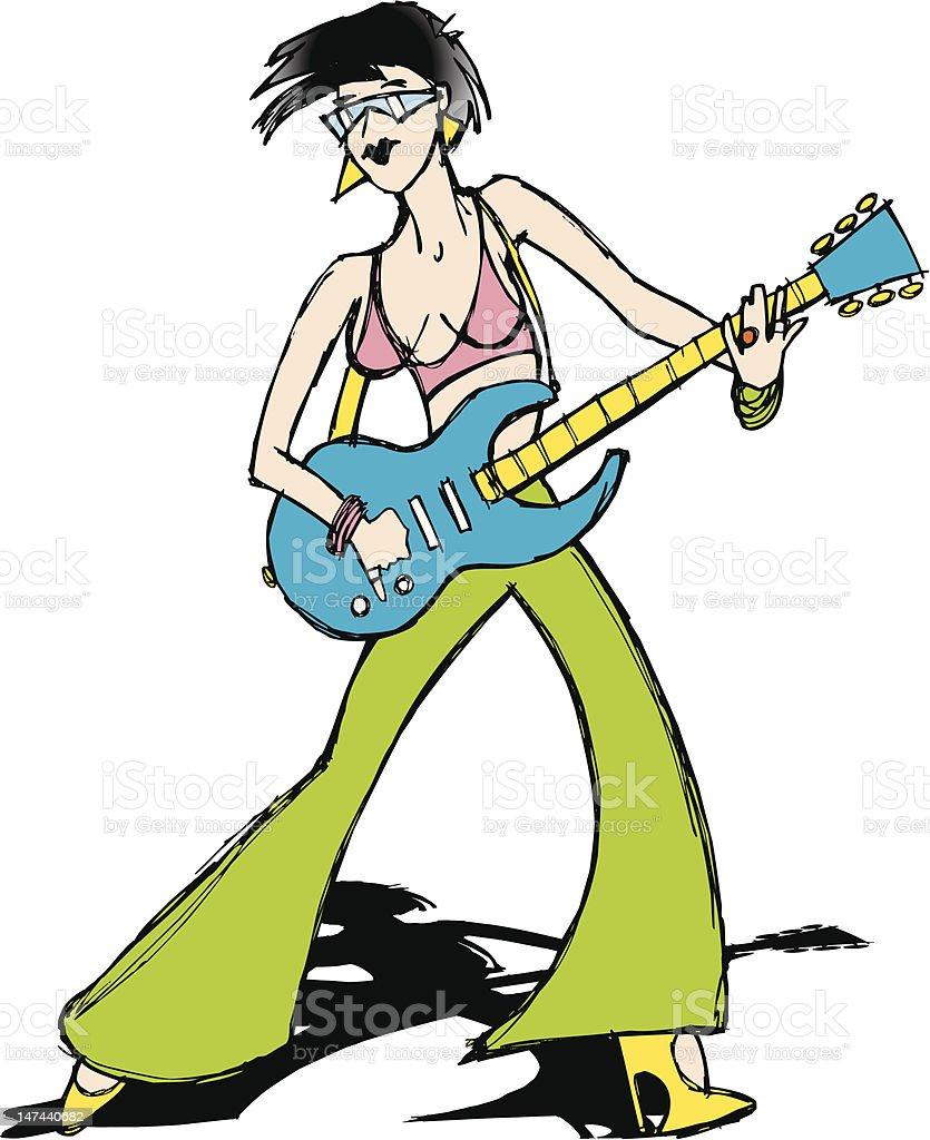 Rock Girl Cartoon royalty-free stock vector art