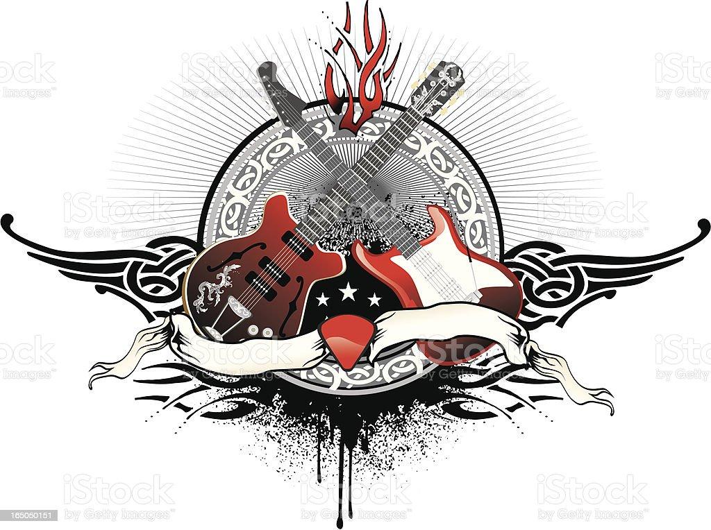rock guitar duel vector art illustration