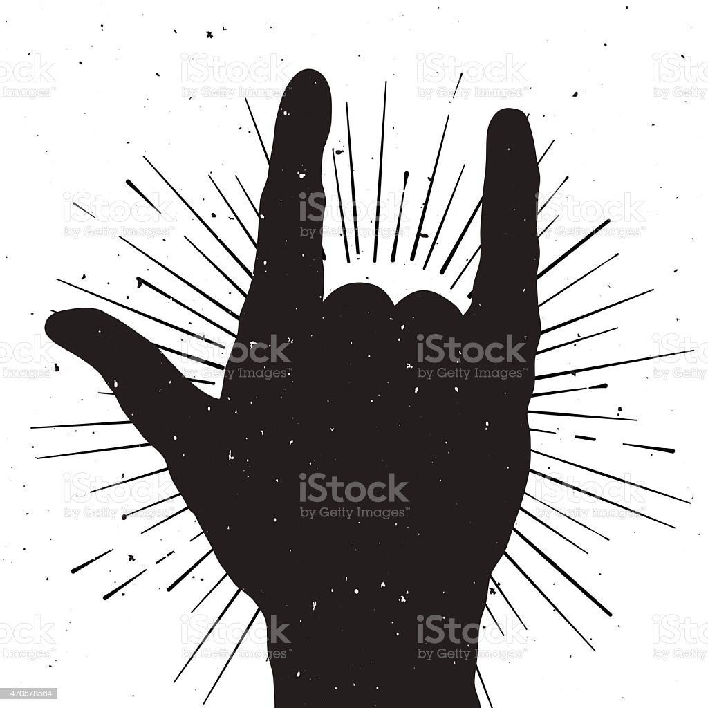 Rock hand sign silhouette, grunge template for your slogan, text vector art illustration