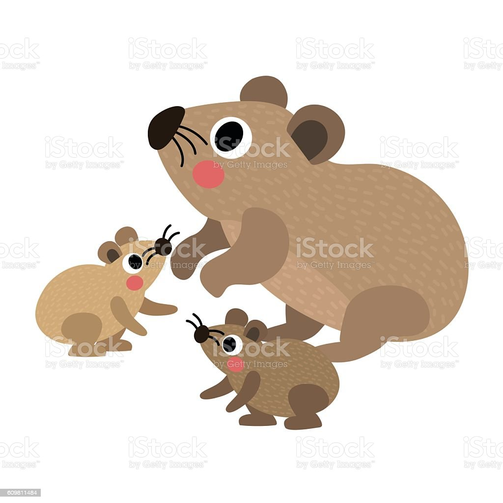 rock hyrax family side view animal cartoon character vector