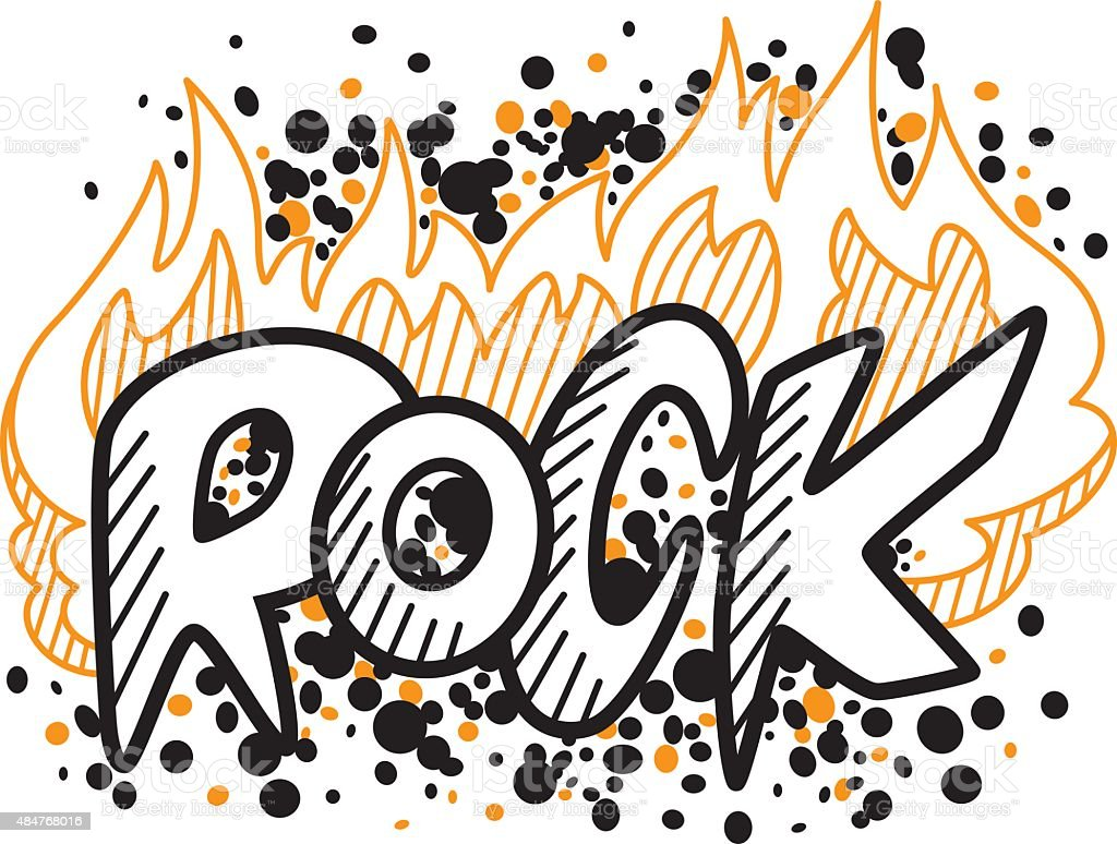 Rock in the fire vector art illustration
