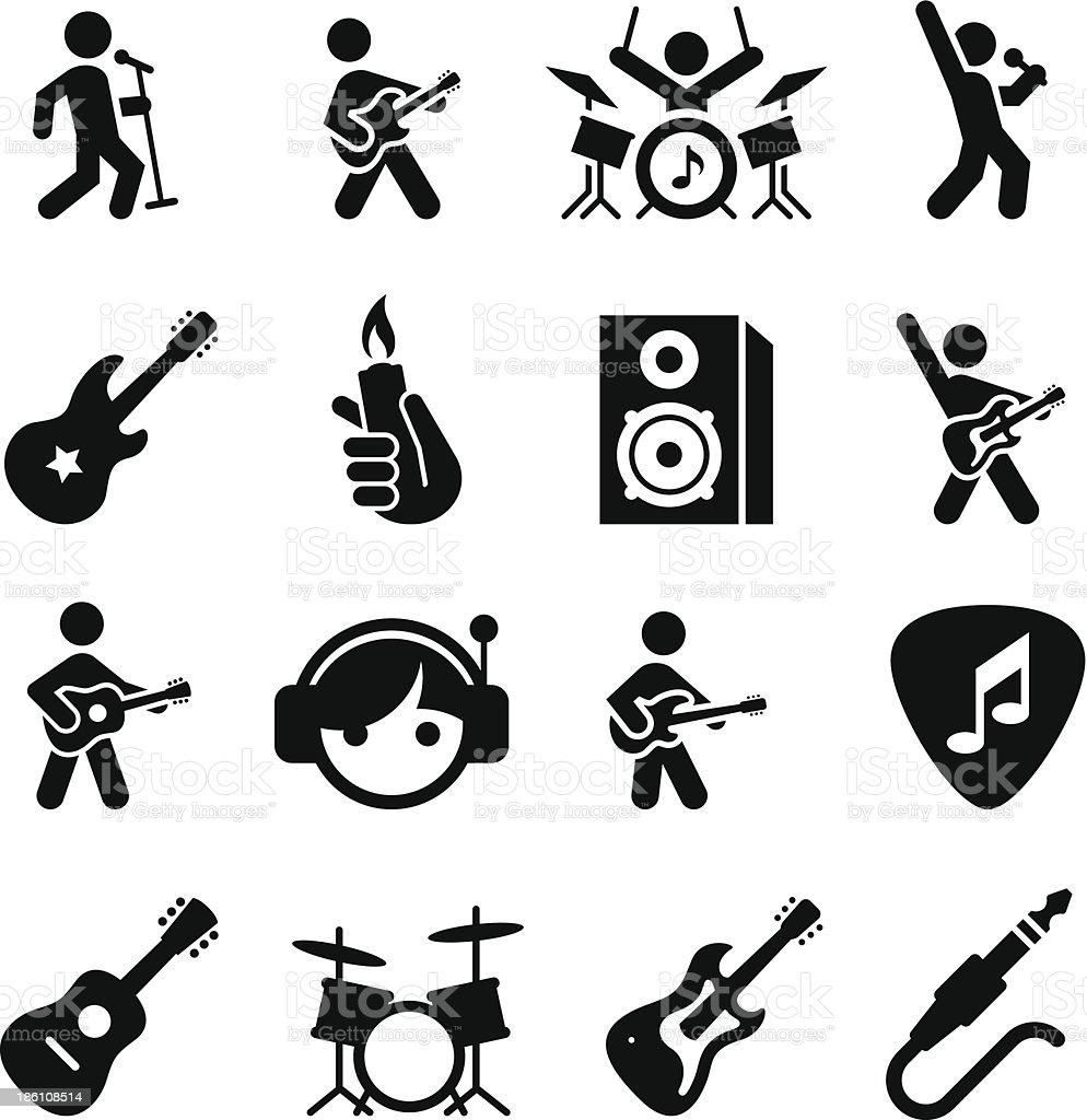 Rock Music Icons - Black Series vector art illustration