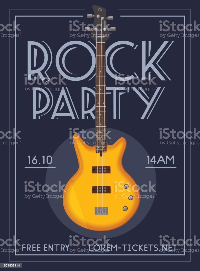 Rock music poster. Old school party. Cartoon vector illustration. vector art illustration