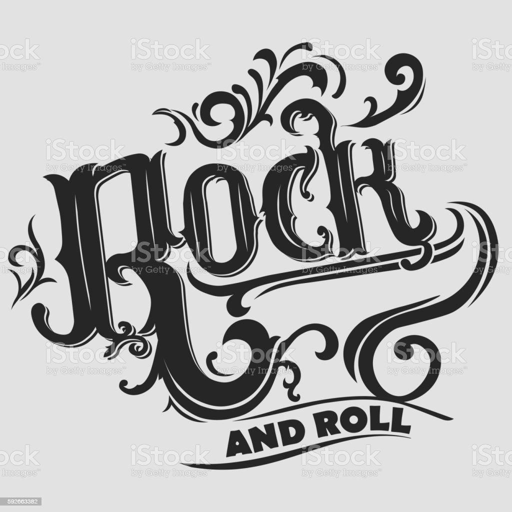 Rock music print vector art illustration