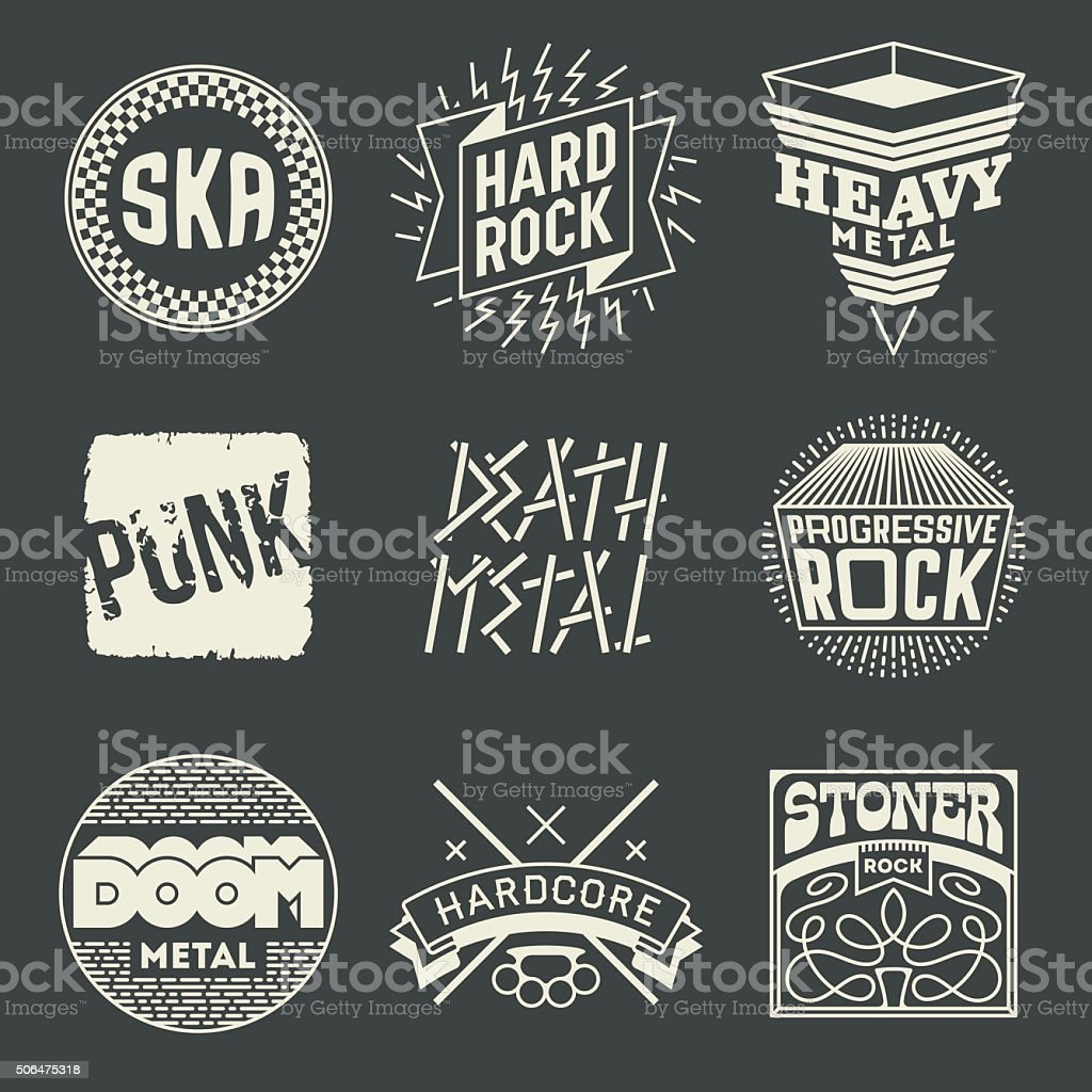 Rock Music Styles Genres Logotypes Set 1. vector art illustration