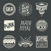 Rock Music Styles Genres Logotypes Set 1.