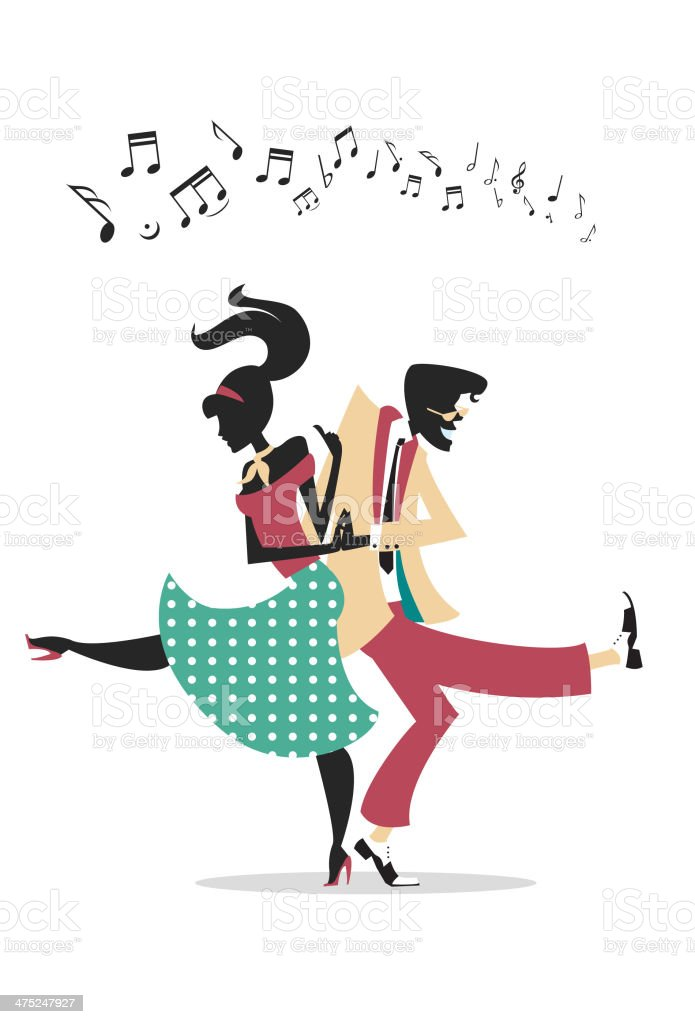 Rock n Roll Couple Silhouette vector art illustration