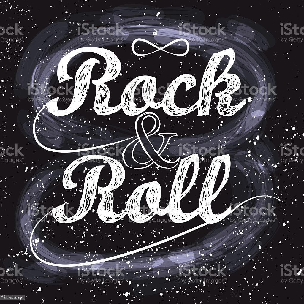 Rock n roll, infinity sign on black vector art illustration