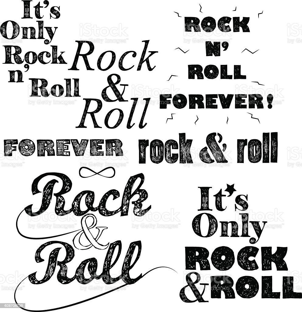 Rock n roll lettering set on white vector art illustration