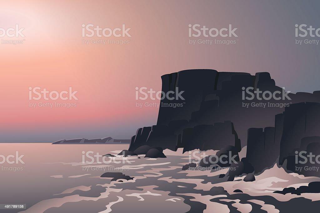 Rock on seashore. Beautiful seaseascape. Cartoon style. Postcard. Poster. Background. vector art illustration