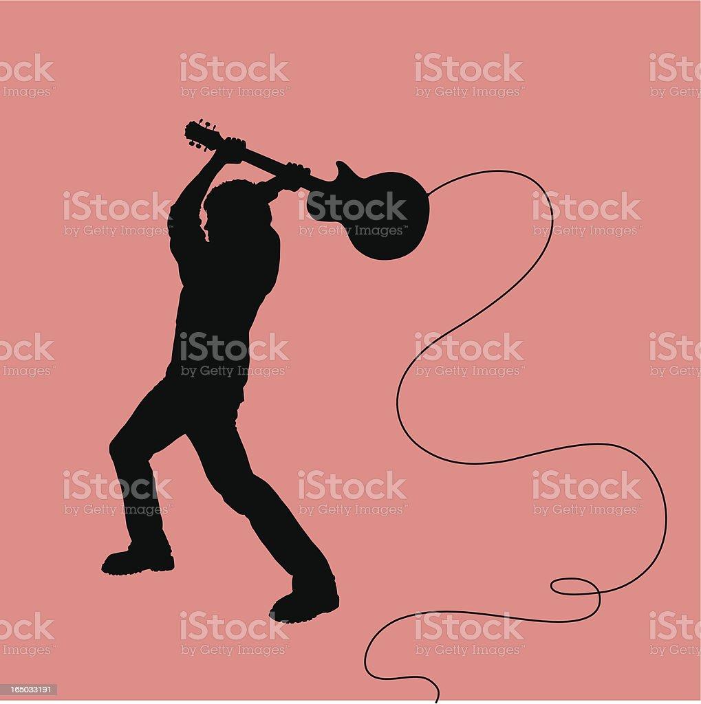 Rock Out! Smashing Guitarist vector art illustration