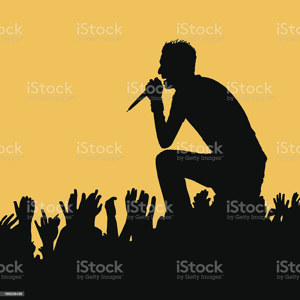 Rock Out! Walking on the Crowd vector art illustration