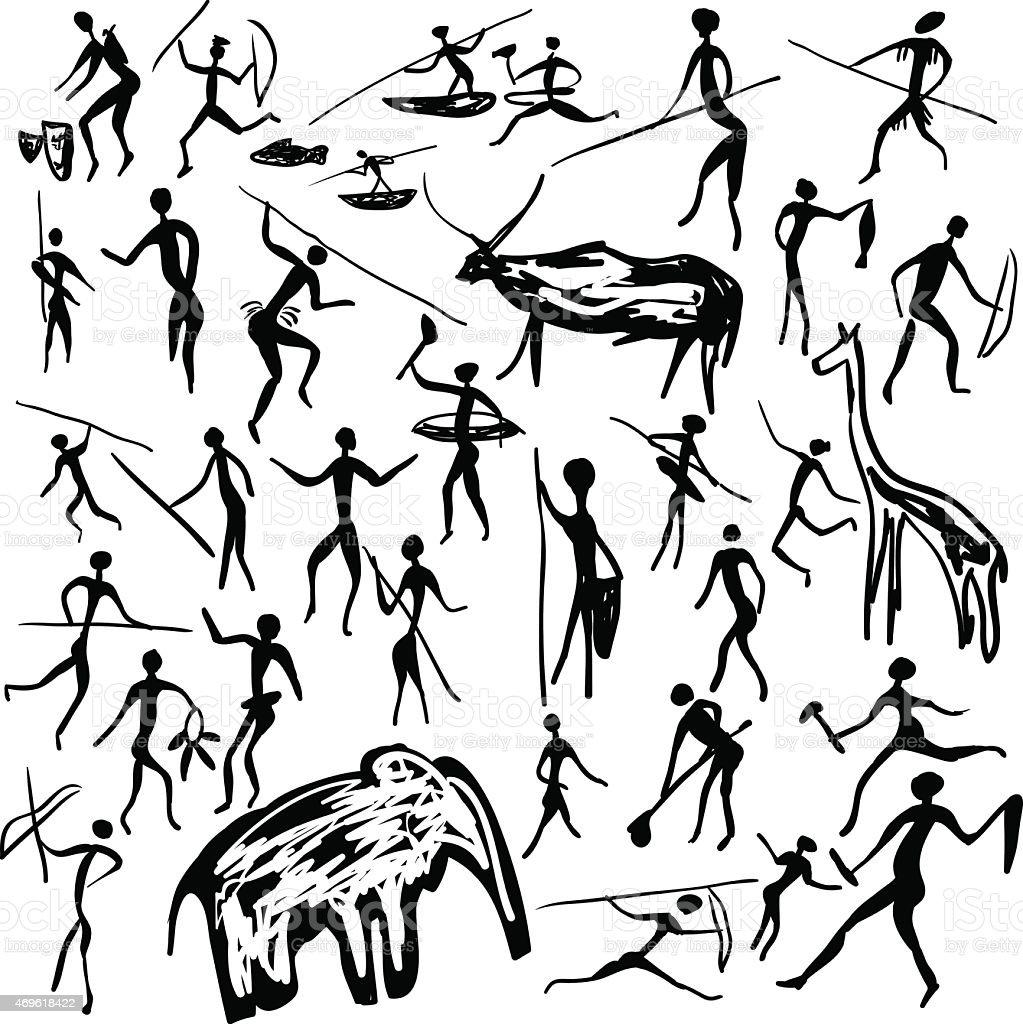 rock paintings vector art illustration