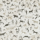 Rock paintings with ethnic people, seamless pattern
