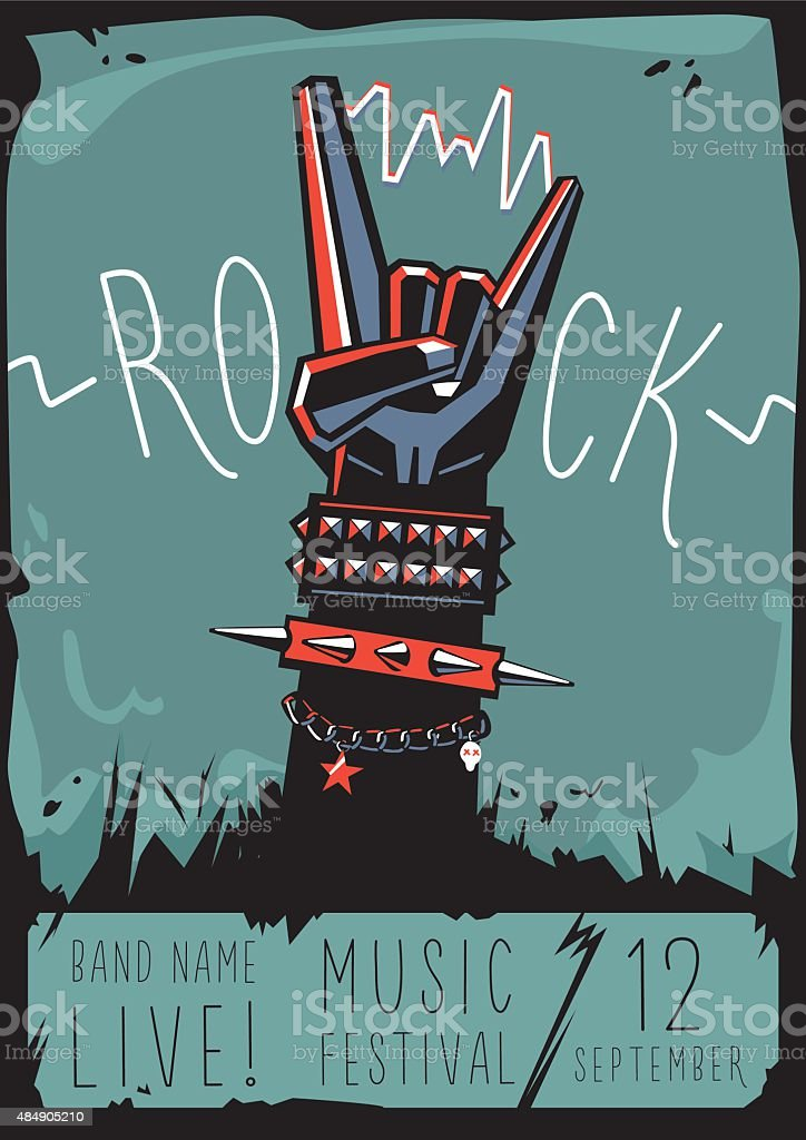 Rock poster with a hand vector art illustration