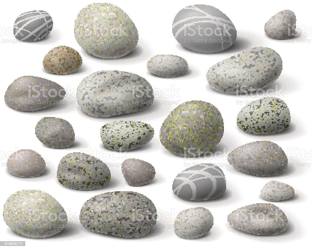 Rock set vector art illustration