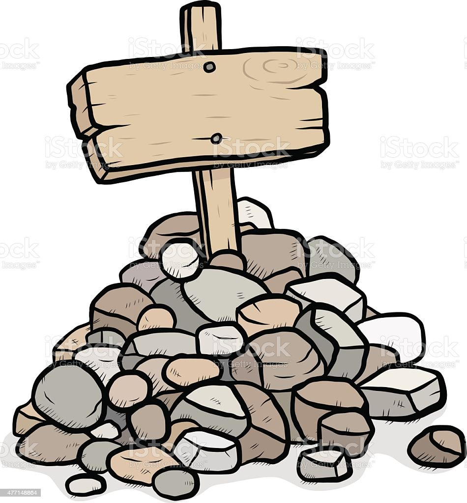 rock stack and wooden placard vector art illustration