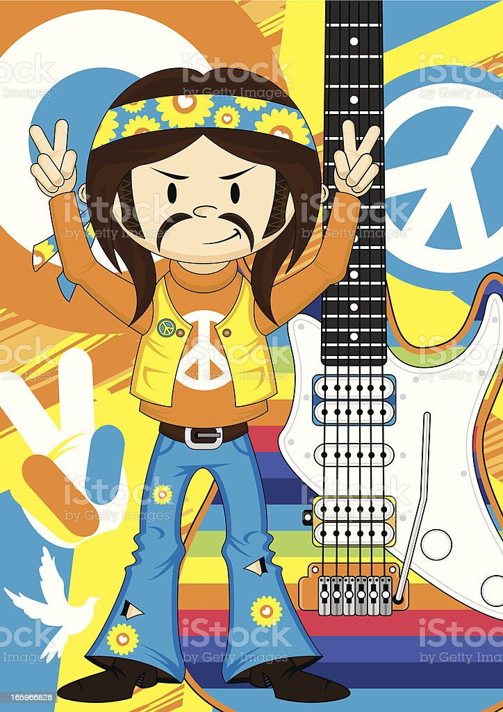 Rock Star Hippie Boy and Rainbow Guitar royalty-free stock vector art