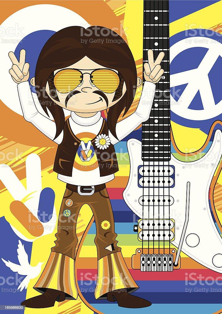 Rock Star Hippie & Rainbow Guitar royalty-free stock vector art