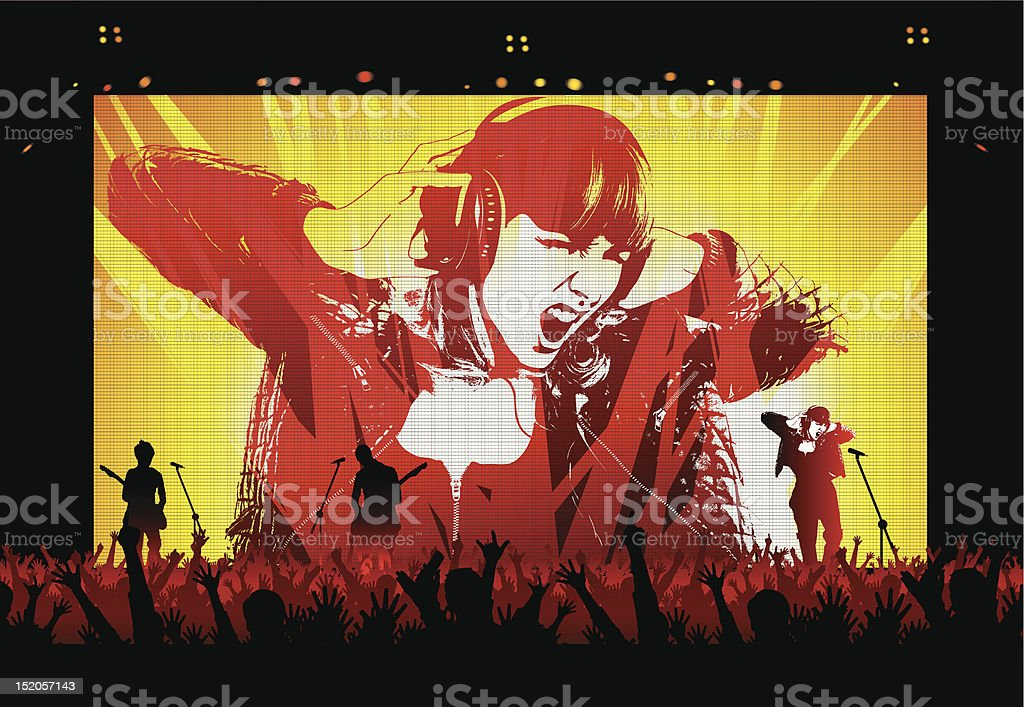 Rock Star on LED screen at Concert royalty-free stock vector art