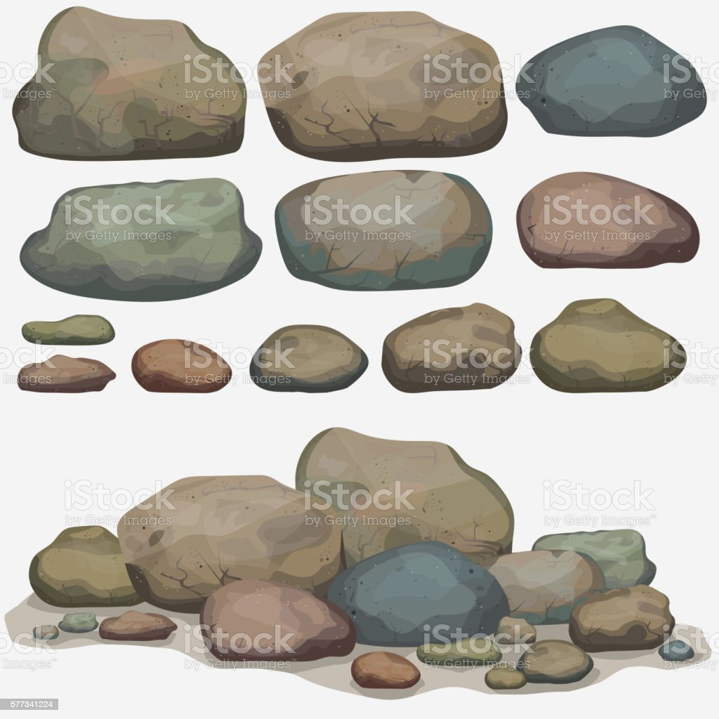 Rock stone set vector art illustration