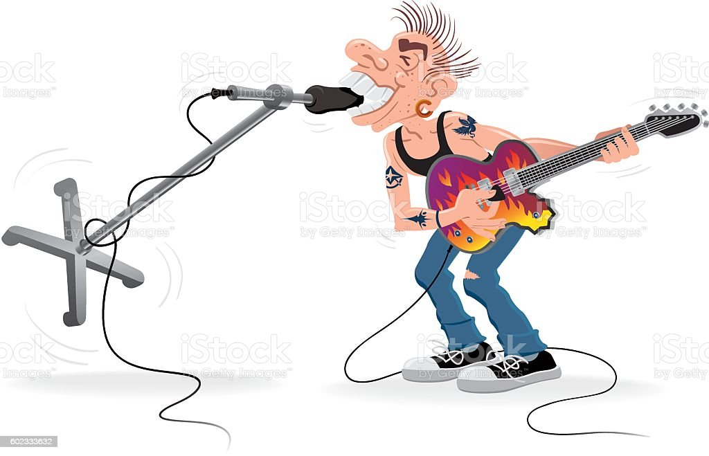 Rocker Biting Microphone vector art illustration
