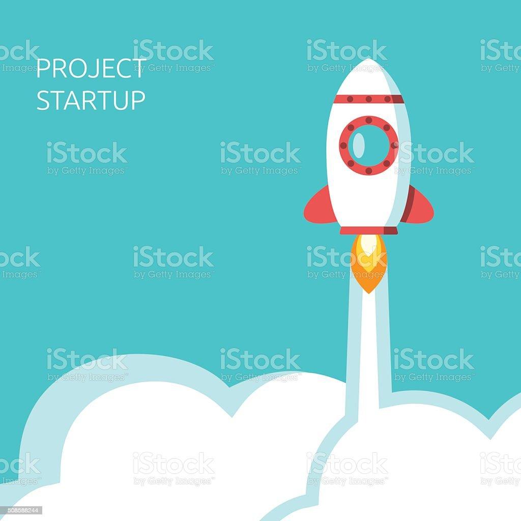 Rocket above clouds vector art illustration