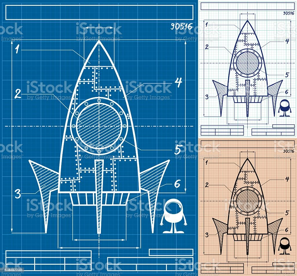 Rocket Blueprint Cartoon vector art illustration