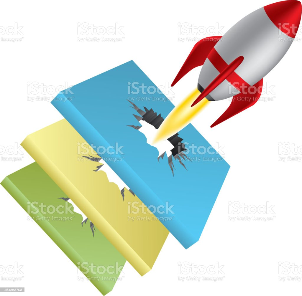 Rocket break through three barriers vector art illustration