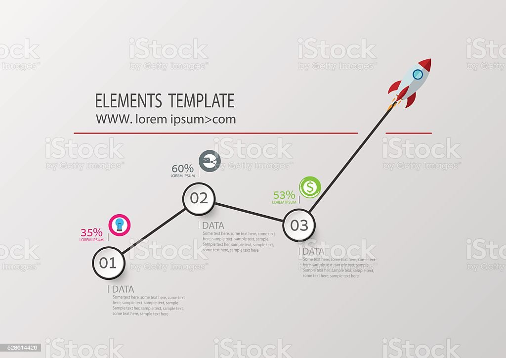 Rocket Business Infographic concept flat style . Vector Template vector art illustration