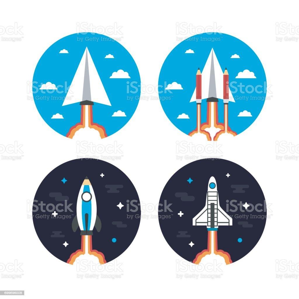 rocket concept icon vector art illustration