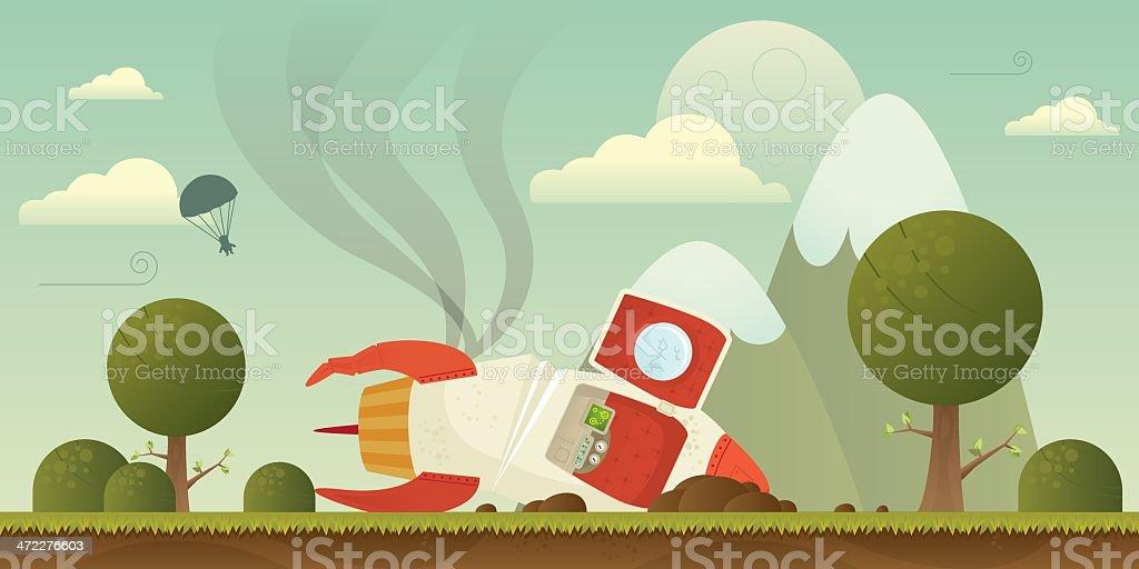 Rocket crash vector art illustration