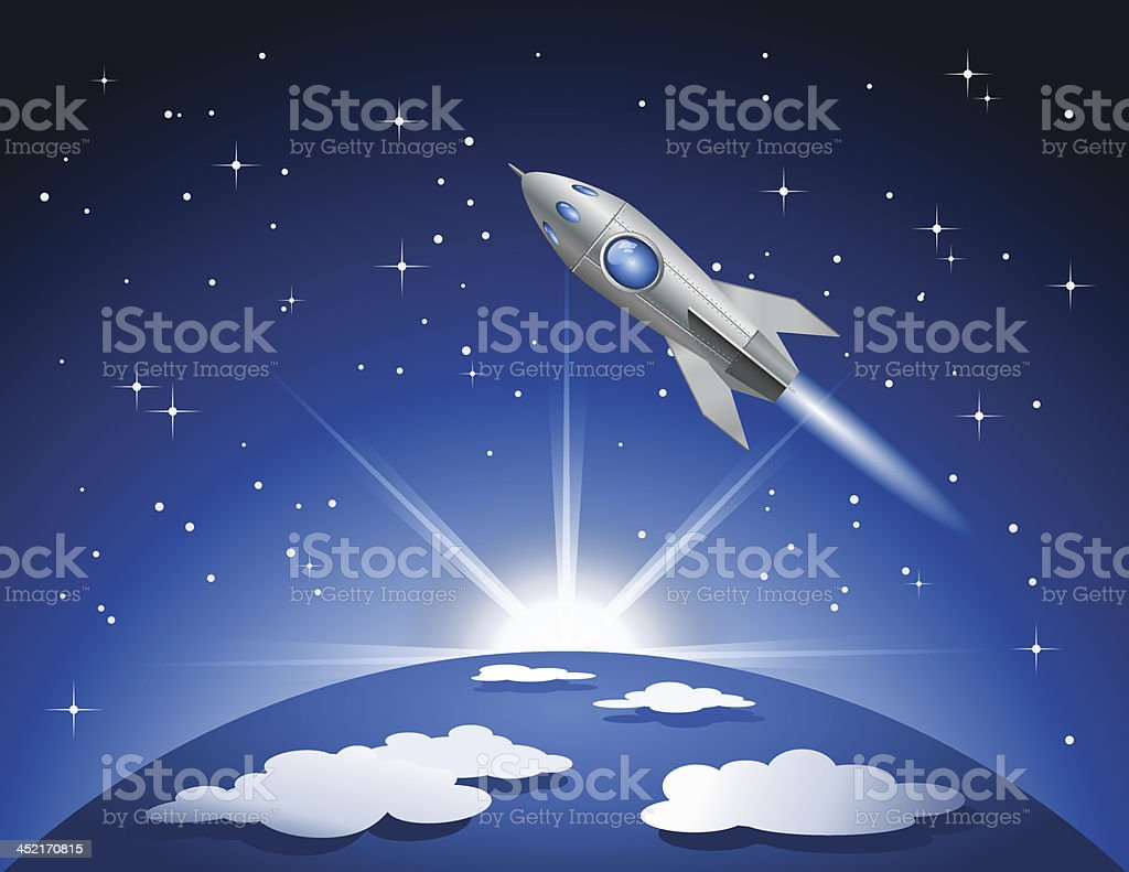 Rocket flying into space royalty-free stock vector art