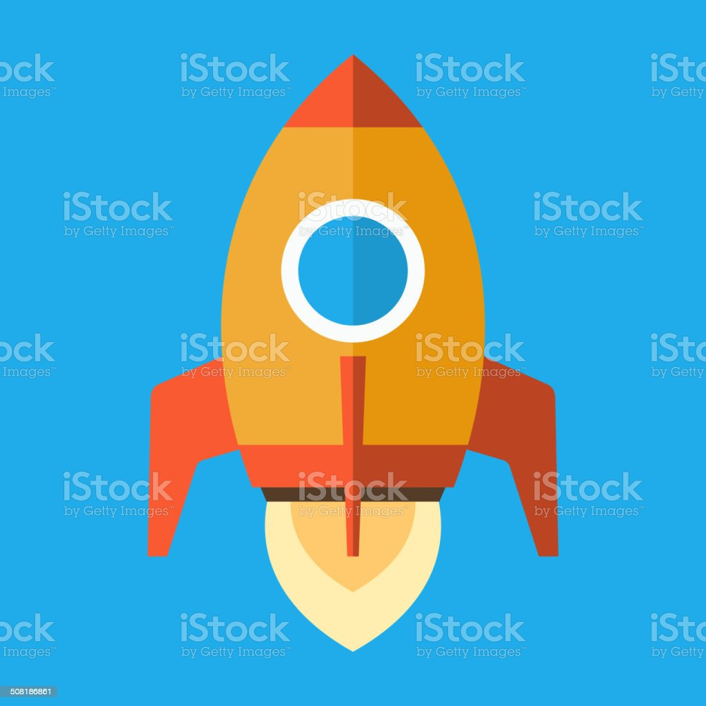 Rocket Icon in Flat Style. Vector royalty-free stock vector art