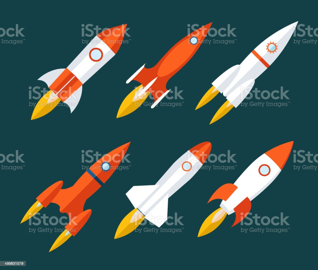 Rocket icons Start Up and Launch Symbol for New Businesses vector art illustration