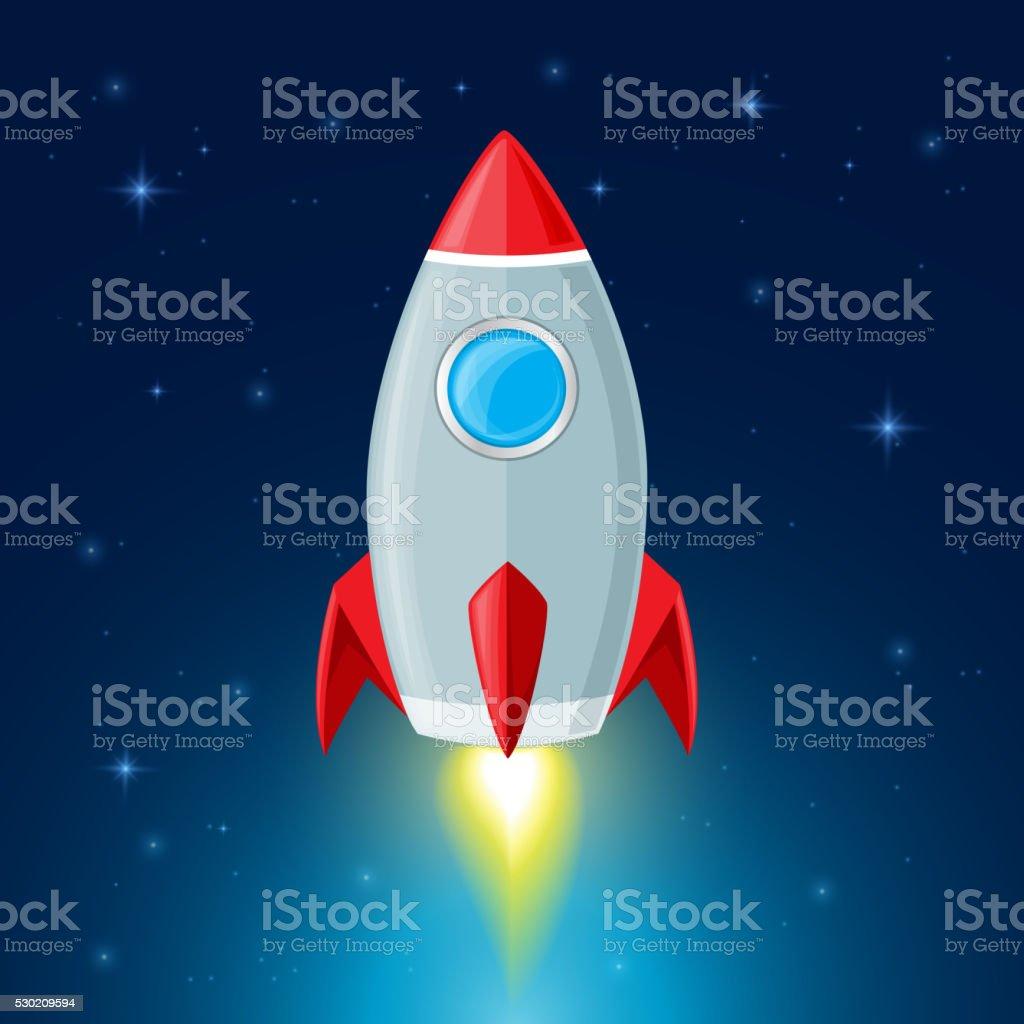 Rocket in space vector art illustration