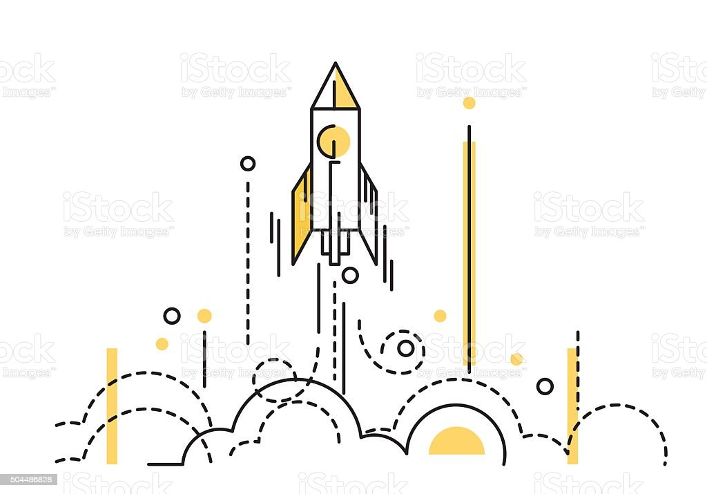 Rocket launch. creative start up. vector art illustration
