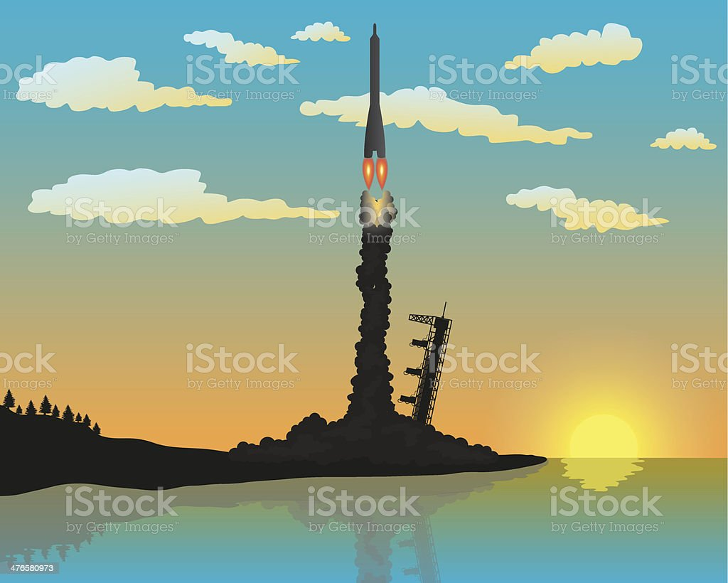 Rocket Launch Silhouette royalty-free stock vector art