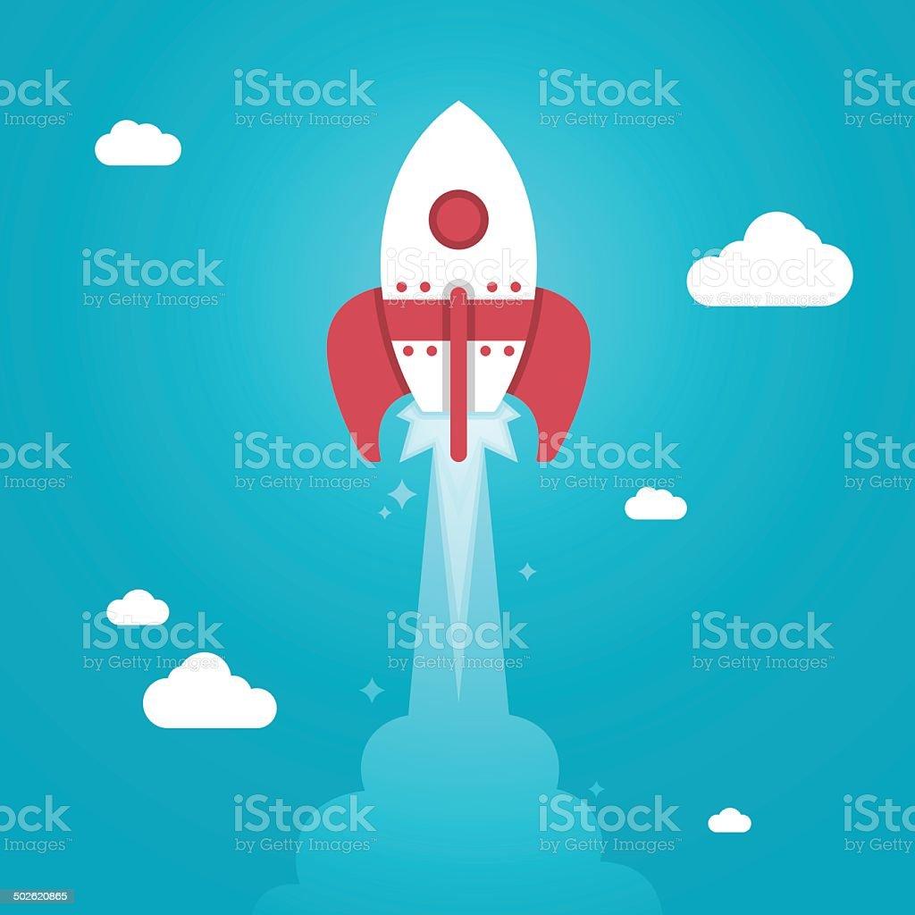 Rocket Launch vector art illustration