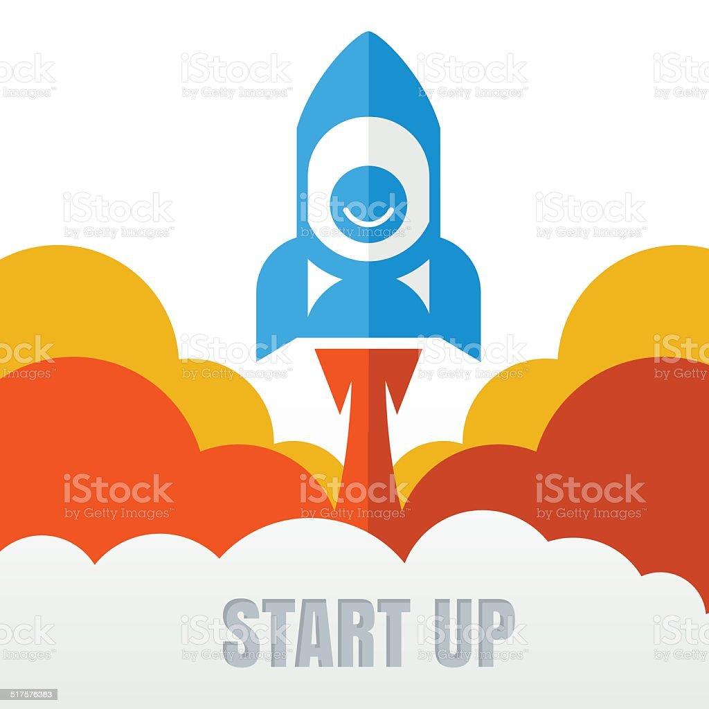 Rocket launcher. Creative business start up concept . vector art illustration