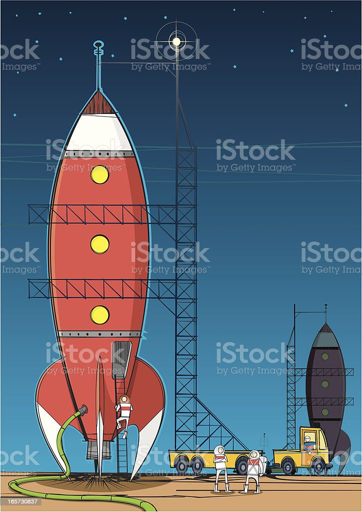 Rocket on Launch Pad royalty-free stock vector art