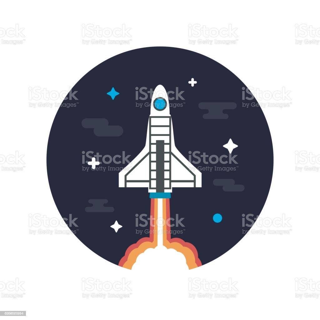 rocket on space vector art illustration
