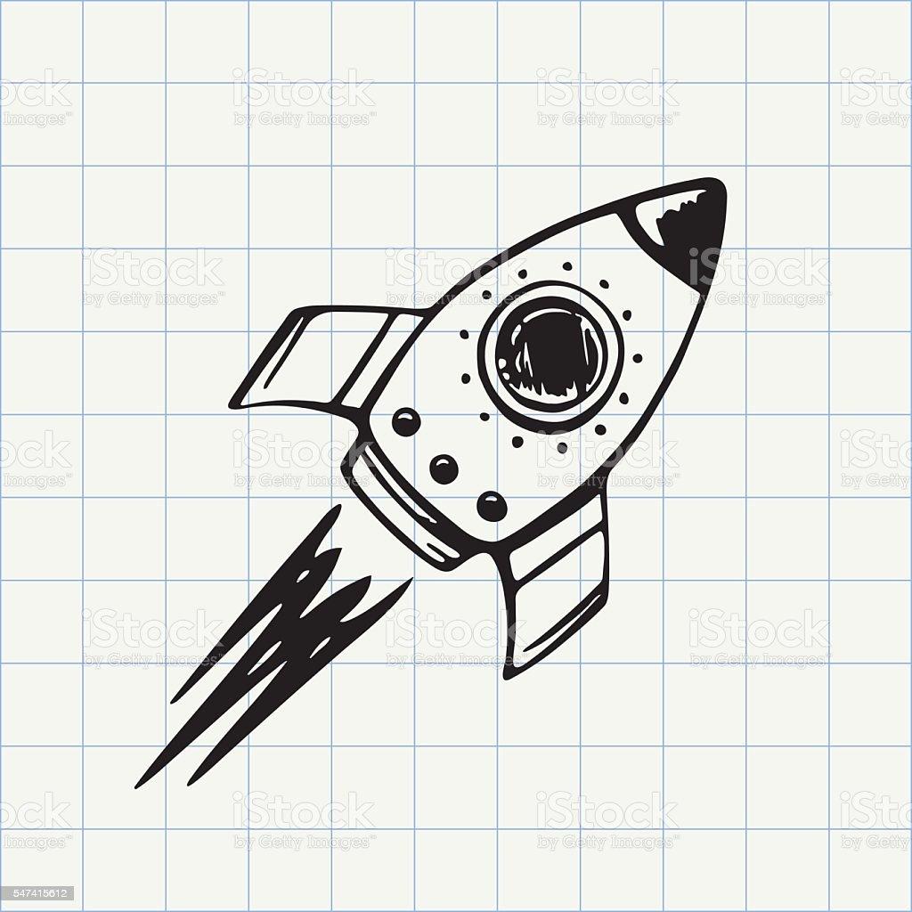 Rocket ship doodle icon vector art illustration