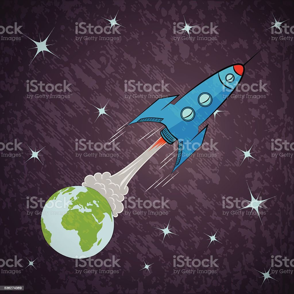 Rocket ship in space vector art illustration