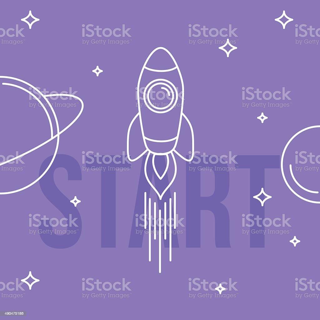 Rocket space vector illustration. Linear design. Start up concep vector art illustration